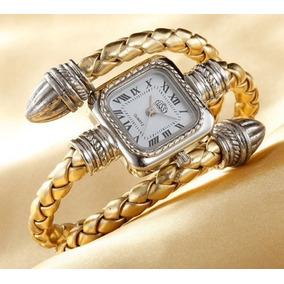 566e36069b0 Relógio Dourado Feminino Pulso Cobra Cussi Quadrado Luxo