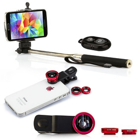Kit Pau Selfie Bastão Monopod + Controle + Lentes Universal