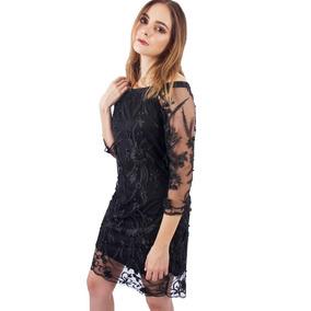 Vestido De Mesh Bordado Rocio Negro