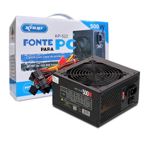 Fonte Real 500w Atx Gamer Knup Silenciosa Pc Bivolt Box