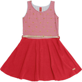 Vestido Infantil Vermelho Estampa Corações E Cinto Dourado