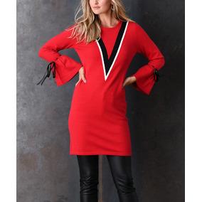 Vestido Suéter Blusón Rojo Simply Couture Juvenil Moderno