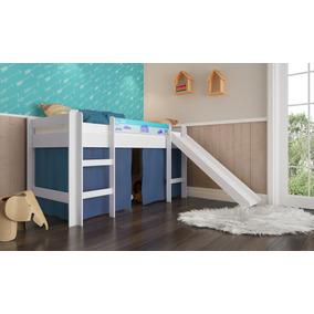 Kit Cama Cabana Elevada Com Colchão Com Escorregador Azul