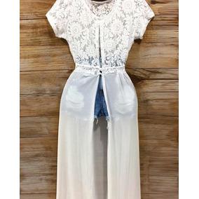 Saída De Praia E Maxi Blusa Feminina Tule Renda Branca Verão