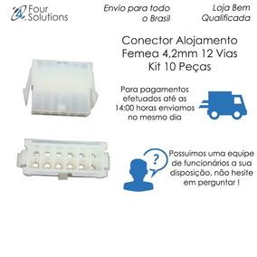 Conector Alojamento Femea 4,2mm 12 Vias - Kit 10 Pçs