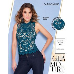 Blusa Cklass Azul Crochet 956-41 Otoño Invierno 2018 Nueva