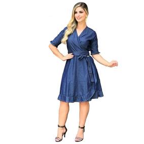 Roupas Femininas Vestido Médio Jeans Transpassado R0046
