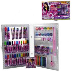 Kit Maleta Escolar Rosa C/ Desenhos P/ Colorir 86pçs Menina