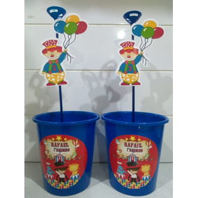 Centro De Mesa Pega Balão Circo Menino Kit 20 Unidades