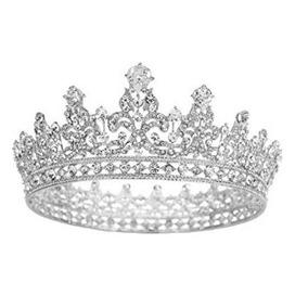 Tiara Corona Boda O 15 Años D Cristal D Circón Corona Plata