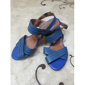 Sandália Feminina Em Couro Azul Bic Em Ótimo Estado 38 5cm