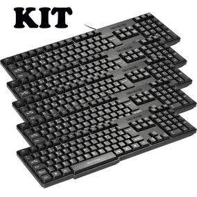 Kit 5 Teclado Multilaser Padrão Slim Abnt2 Preto - Tc213