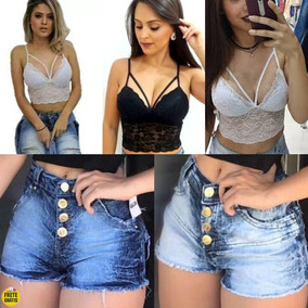 Kit Conjunto, 5 Cropped E 5 Short Jeans, Atacado, Barato