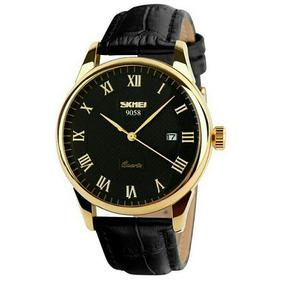Relógio Masculino Skmei 9058 Luxo Original De Ouro
