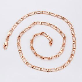 Collar Caballero Oro Rosa 14k Laminado Tejido Cartier 60cm