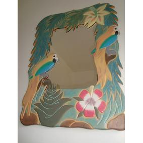 Espelho Grande 83x60 Cm Moldura De Madeira Entalhada Araras