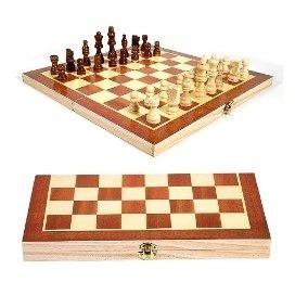 Jogo Xadrez Damas Gamão 3 X 1 Tabuleiro Madeira Ba-10388