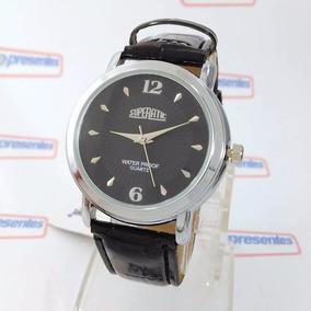 985d070abac Relógio Masculino Pulseira Couro Caixa Metal Wr Maq. Myiota