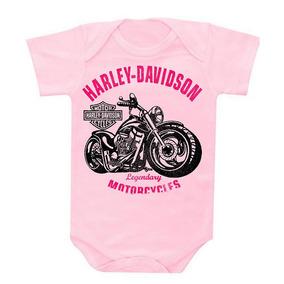 Body Infantil Para Bebês Rock Harley David.son Rosa Rs8009 236a4f9a95