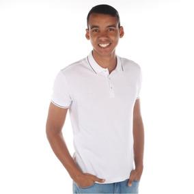 Camisa Polo Branca Detalhe Azul - Pólos Manga Curta Masculinas no ... eae683e2568d3