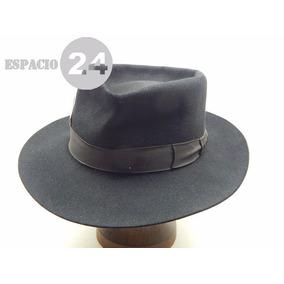 73f5f10c759eb Sombrero Antiguo Paño De Fieltro Color Negro C cinta De Gro
