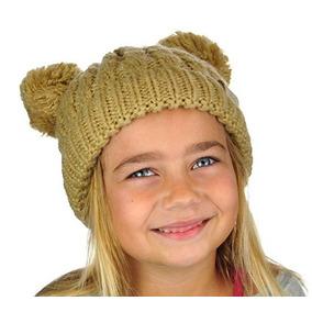 Gorro De Invierno Para Niñas Y Niños Con Pompones Camel Cck2 1e2bcce2dbc