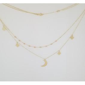 Gargantilla Doble Cadena Luna Y Estrellas 3 Oros 10k Sólido