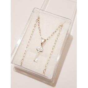 7d11a3a6e0ea Collar De Llave Trebol Y Cristal De Plata 925 Y Envio Gratis