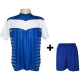Uniforme 14 Camisas Dubai Bco roy + 14 Calções Madrid Royal 6d2e17aea87ad