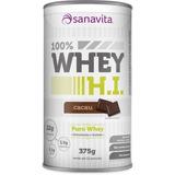 1 Lata 375grs 100% Whey H.i. - Cacau Sanavita