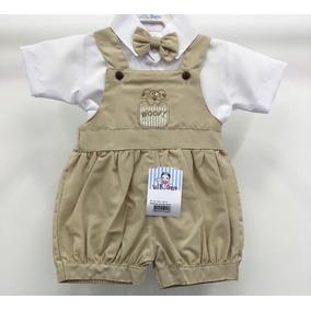 Roupa Caqui Macacão Gravata Camisa Bebê Masculino Batizado