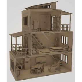 Casinha Casa Polly Moderninha+32 Mini Moveis Mdf Cru Linda