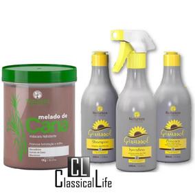 Kit Cauterização Girassol Hidratação Melado De Cana Natureza