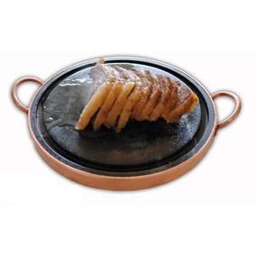 Grelha Para Carne De Pedra Sabão 37 Cm De Diâmetro + Brinde