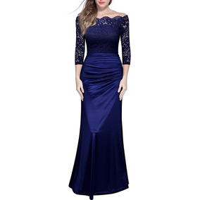 Vestido Encaje Vintage Azul Marino Boda Graduacion Miusol