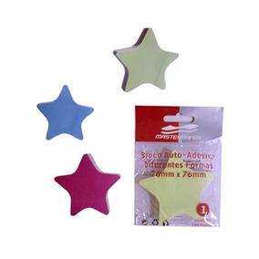 Bloco Auto Adesivo Sticker Para Recado Estrela Com 100 Folha