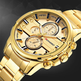 Pulseira Dourada Relógio Masculino Importado Com Caixa