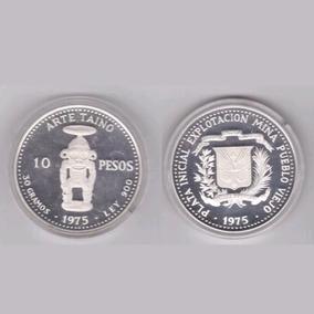 Moneda Conmemorativa 10 Pesos Arte Taino 1975 (plata)