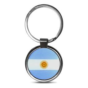 Chaveiro Premium Aço Cromado Argentina Branco E Azul