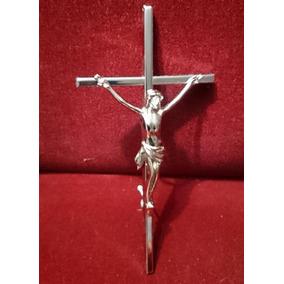 Cruz Acero Inoxidable Con Cristo De Bronce Para Cementerio