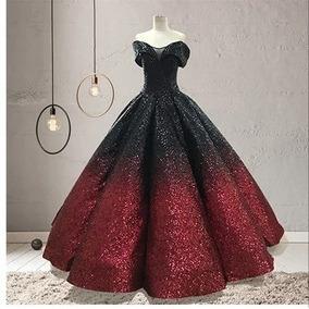 Vestidos de xv color vino con negro