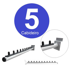 5 Cabideiro Arara P Cabide Inclinado Painel Canaletado Full