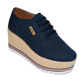 Calzado Dama Mujer Zapato Creeper Tipo Gamuza Marino Comodo 91b73f837bb