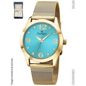 23adc9754bb Kit Relógio Champion Dourado Cn26037a Fundo Azul Semi Joias ...