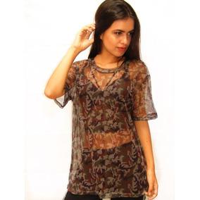 Blusa Camiseta Tule Feminina Blusinha Transparente T -shirt
