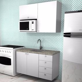 Cozinha Compacta, Armários, Nicho Microondas, Gavetas, Extra