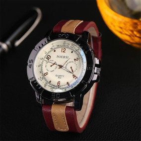 Relógio Masculino De Luxo Quartz Faux Leather Sport