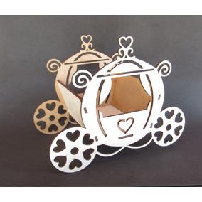 30 Lembranças Cachepô Carruagem Cinderela 15cm Mdf Branco