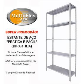 Estante Aço Bipartida 30cm Prática & Fácil C/05 Prat. Cinza