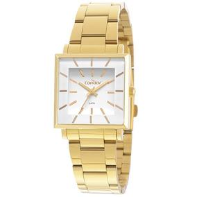 Relógio Condor Kit Dourado Quadrado Feminino Co2035exm/k4b